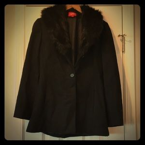 Warm black wool coat w/ faux fur trim.